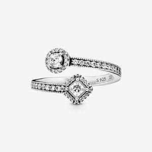 Pandora  Sparkling Square & Circle Open Ring